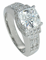Princeton 2.5 Carat Cushion Cut Cubic Zirconia Pave Set Round Solitaire Engagement Ring