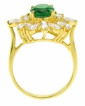 Prisca 1.5 Carat Emerald Green Oval Cubic Zirconia Cluster Ring