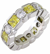 Prizma Bezel Set Princess Cut Alternating Round Cubic Zirconia Eternity Band
