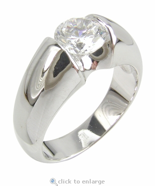 Promisory 1 Carat Round Cubic Zirconia Tension Set Solitaire Engagement Ring