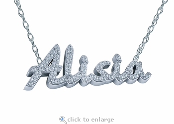 Prong Set Personalized Round Cubic Zirconia Name Pendant Necklace