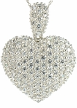 Puffed Heart Pave Set Round Cubic Zirconia Pendant