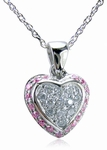 Puffed Pave Set Round Cubic Zirconia Halo Mini Heart Pendant