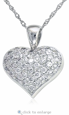 Puffed Pave Set Round Cubic Zirconia Heart Pendant