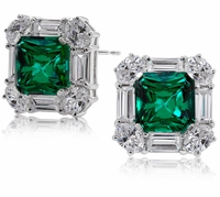 Quadrilla 5.5 Carat Princess Cut Cubic Zirconia Round Emerald Halo Stud Earrings