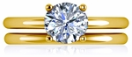 Quatra 1 Carat Round Four Prong Solitaire with Matching Band Wedding Set