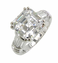 Quatro Asscher Cut Cubic Zirconia Split Prong Channel Set Baguette Solitaire Engagement Rings