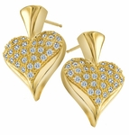 Queen of Hearts Puffed Pave Set Cubic Zirconia Earrings
