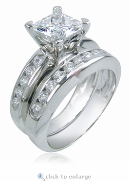 Quentin 1 Carat Princess Cut Channel Set Round Cubic Zirconia Bridal Set