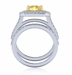 Querva 2 Carat Round Double Halo Cubic Zirconia Pave Wedding Set