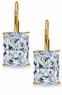 Radiant Emerald Cut Cubic Zirconia Leverback Earrings