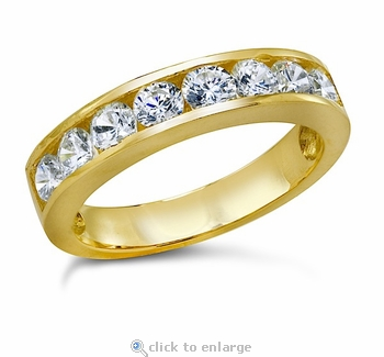 Ragan Round Channel Set Cubic Zirconia Anniversary Band