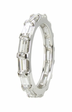 Razzour Horizontal Shared Prong Set Baguette Cubic Zirconia Eternity Band