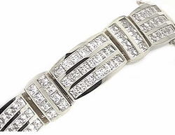 Reebo Channel Set Princess Cut Square Cubic Zirconia Men's Bracelet