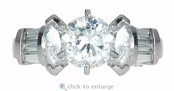 Reema 1 Carat Round Marquise and Channel Set Baguette Cubic Zirconia Solitaire Engagement Ring