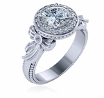 Regallo 1 Carat Round Cubic Zirconia Halo Milgrain Bow Engagement Ring