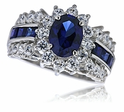 Regent 1 Carat Oval Man Made Sapphire And Cubic Zirconia Cluster Halo Ring