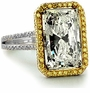 Remmini 9 Carat Emerald Radiant Cut Cubic Zirconia Halo Cocktail Ring