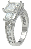 Remy 1.5 Carat Cubic Zirconia Princess Cut Three Stone Engraved Estate Style Ring