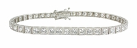 Retro Box Prong Set Round Cubic Zirconia Tennis Bracelet