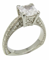 Revival 1.5 Carat Princess Cut Square Cubic Zirconia Engraved Antique Estate Style European Shank Solitaire