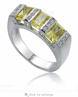 Ria Channel Set Radiant Emerald Cut Cubic Zirconia Canary Pave  Anniversary Band