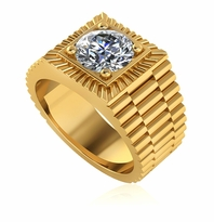 Ribbed 2 Carat Round Halo Cubic Zirconia Mens Ring