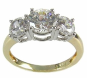 Rio 1 Carat Three Stone Round Cubic Zirconia Two Tone Anniversary Ring