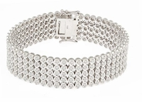Rio Quinto Bezel Set Round Cubic Zirconia Five Row Flexible Bracelet