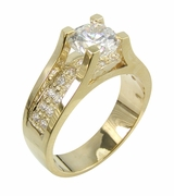 River of Ziamonds 1 Carat Round Cubic Zirconia Suspended Pave Solitaire Engagement Ring
