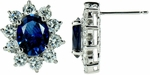 Rivet 1.5 Carat Oval Cubic Zirconia Man Made Sapphire Cluster Earrings