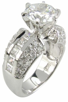 Riviera 2 Carat Round Cubic Zirconia Channel Set Princess Cut and Pave Solitaire Engagement Ring