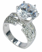 Riviera 5.50 Carat Round Cubic Zirconia Pave Princess Cut Solitaire Engagement Ring