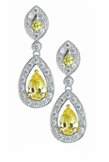 Rochelle Cubic Zirconia Canary Diamond Look Pear Halo Pave Set Round Drop Earrings