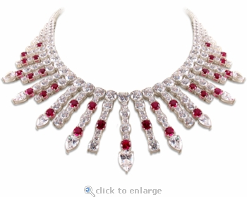 Rochester Round Pear Cubic Zirconia Drop Bib Statement Necklace