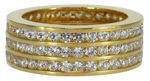 Rocket Three Row Channel Set Round Cubic Zirconia Eternity Band