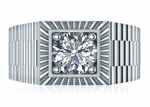 Roland Ribbed 2 Carat Round Halo Cubic Zirconia Mens Ring