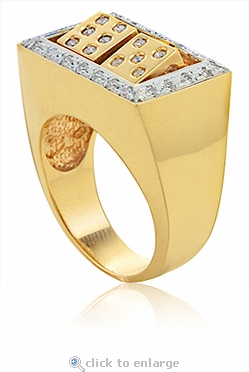 Rolling Spinning Dice Pave Cubic Zirconia Mens Ring