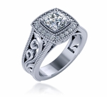Romani 1 Carat Cushion Cut Cubic Zirconia Milgrain Halo Engraved Solitaire Engagement Ring