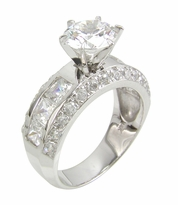 Rondell 1.5 Carat Round Cubic Zirconia Channel Set Princess Cut Pave Solitaire Engagement Ring
