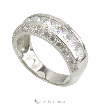 Rondell Channel Set Princess Cut Cubic Zirconia Pave Round Anniversary Band