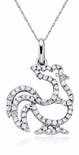 Rooster Chinese Zodiac Animal Cubic Zirconia Pave Set Round Pendant