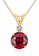 Rosa 1.25 Carat Round Ruby Gemstone Basket Set Pendant