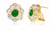 Rosario .75 Carat Emerald Round Cubic Zirconia Bezel Set Cluster Flower Style Earrings