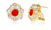 Rosario .75 Carat Ruby Round Cubic Zirconia Bezel Set Cluster Flower Style Earrings