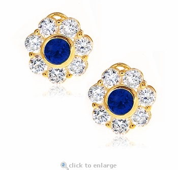 Rosario .75 Carat Sapphire Round Cubic Zirconia Bezel Set Cluster Flower Style Earrings