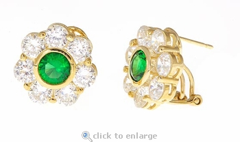 Rosario Lab Created Emerald Cubic Zirconia Round Basket Set Flower Style Earrings