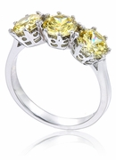 Roslyn .75 Carat Each Three Stone Round Canary Cubic Zirconia Anniversary Ring