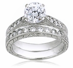 Round 1 Carat Cubic Zirconia Cathedral Engraved Bridal Set II