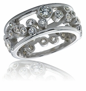 Round Bezel Floating Bubble Cubic Zirconia Eternity Band